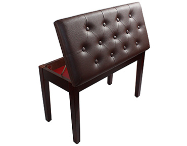 YMC Coffee Ebony Wood Leather Piano Bench