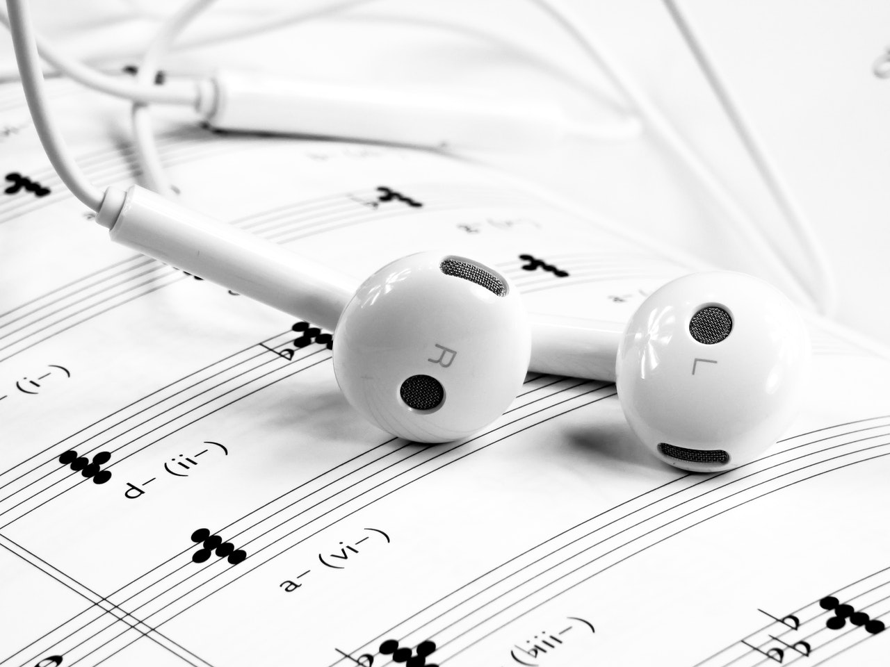 sheet music with earphones